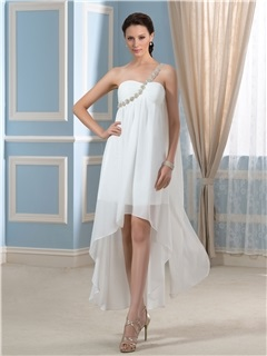 Asymmetry One-Shoulder Beading Chiffon Short Beach Pregnant Wedding Dress