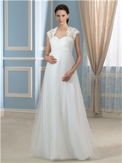 Spaghetti Straps Tulle Floor-Length Maternity Wedding Dress with Lace Jacket