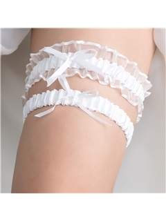 One Size White Wedding Garter