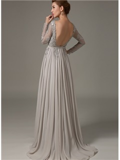 A Line Appliques Sequins Long Sleeves Backless Long Evening Dress