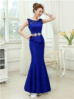 Timeless Sheath Lace Flowers Beading -up Long Evening Dress