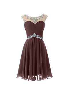 A-Line Beaded Scoop Neck Pleats Short Homecoming Dress & Homecoming Dresses from china