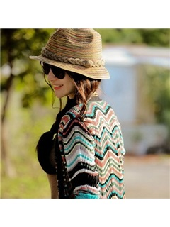 Vintage Weaved Strap Decorated Sun Hat