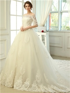 Charming Floor Length A Line Lace Off The Shoulder Cathedral Wedding Dress