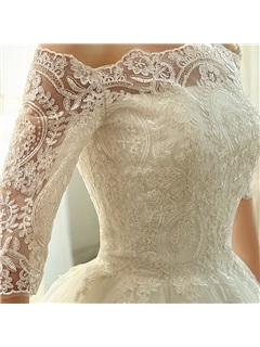 Charming Floor Length A-Line Lace Off the Shoulder Cathedral Wedding Dress
