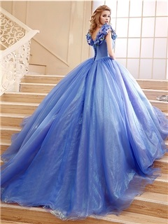 Fancy Straps Ball Gown Pick-ups Appliques Lace-up Chapel Train Quinceanera Dress