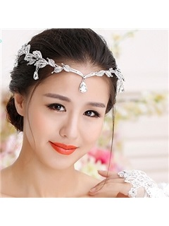 Pretty Leaves Shaped Rhinestone Wedding Headband