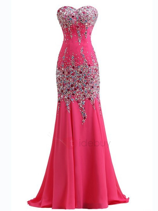 Sweetheart Beading Sequined Sweep Train Mermaid Evening Dress
