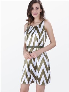 Chevron-print Sleeveless Shift Dress