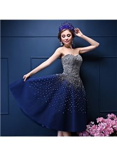 Luxuy Sweetheart A-Line Beaded Lace-up Tulle Sequined Cocktail Dress
