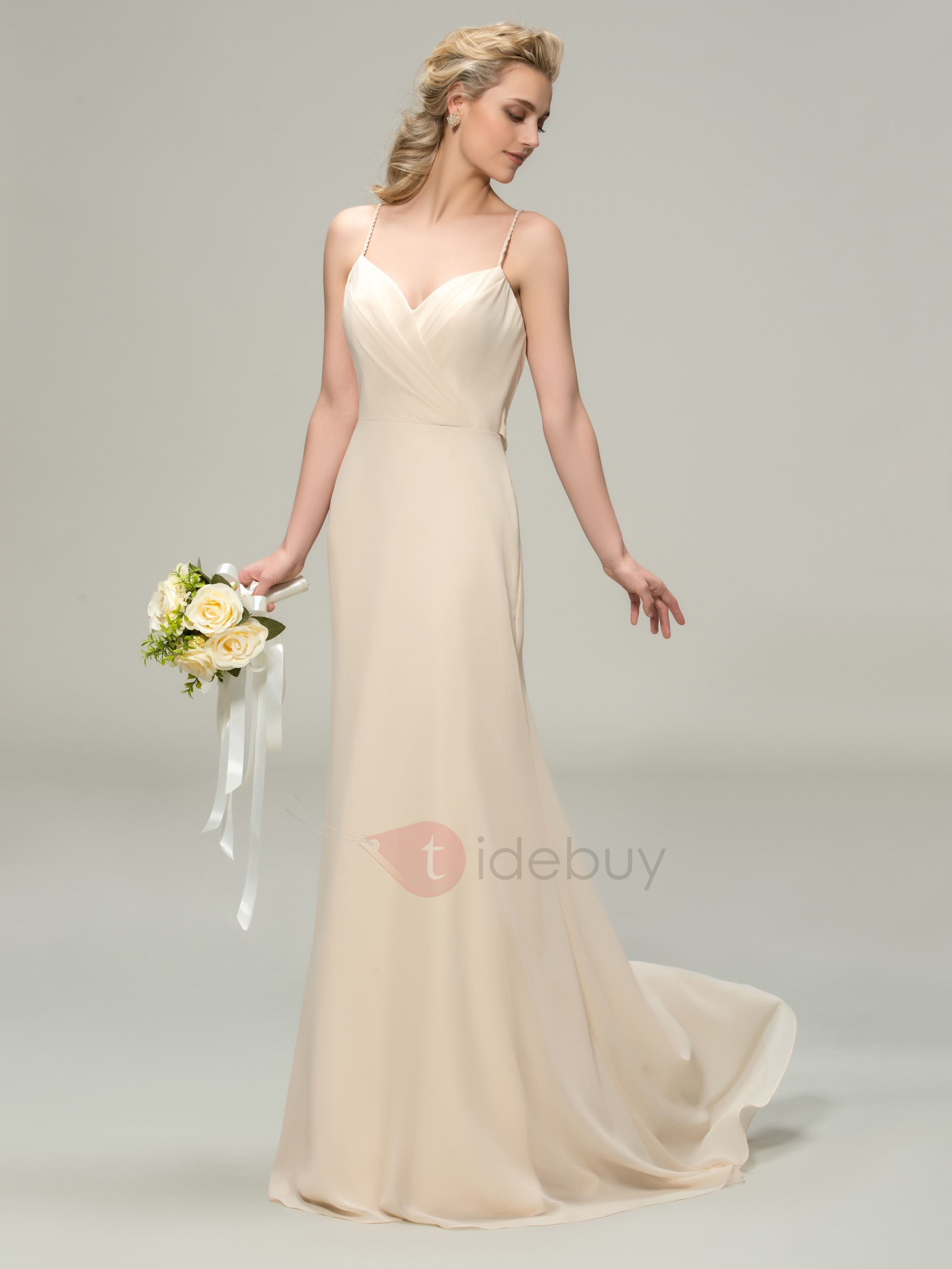 Spaghetti Straps Sheath Champagne Long Bridesmaid Dress