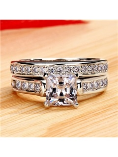 Stylish NSCD Diamond Square Pt950 Wedding Ring Set