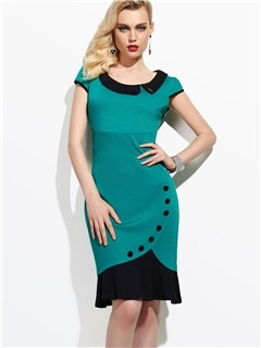 Hot Sale Round Neck Cap Sleeve Work Bodycon Dress