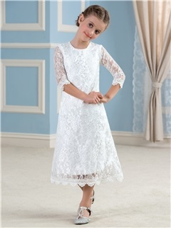 Cheap Ivory Long Sleeve Lace Flower Girl Dress