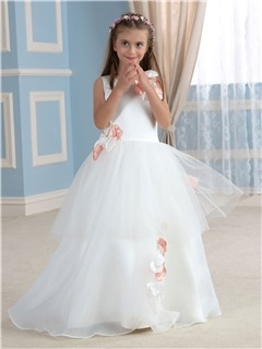 Pretty Floor Length A-Line Flower Embellishing Tiered Princess Flower Girl Dress