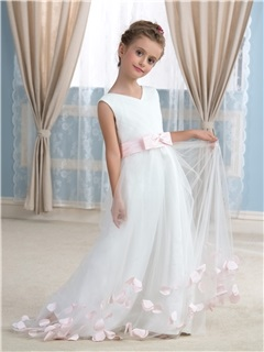 Floor Length A-Line V-Neck Flower Girl Dress with Satin Sash Floral Bowknot