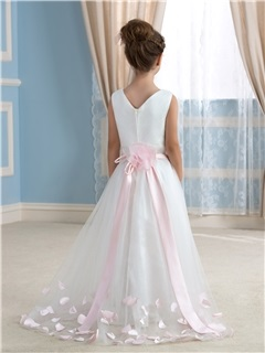 Floor Length A-Line V-Neck Flower Girl Dress with Sash Floral Bowknot