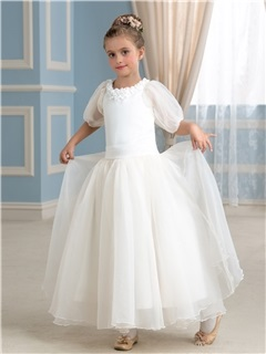 Floral Jewel Neck Puffball Half Sleeve Princess Flower Girl Dress