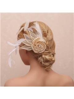Vintage Flower Shaped And Feather Decorated Bridal Hair Claw