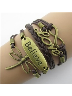 Vintage Dragonfly & Infinity Leather Bracelet 3