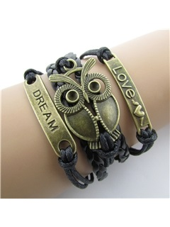 Vintage Owl Decorated Women's Bracelet