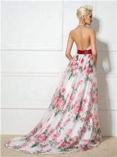 Dramatic Backless Halter V-Neck A-Line Long Floral Print Evening Dress
