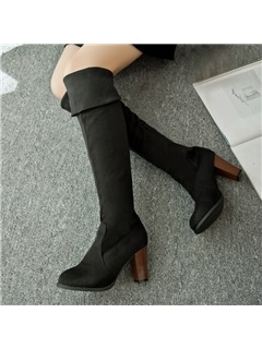 Suede Chunky Heel Knee-High Boots