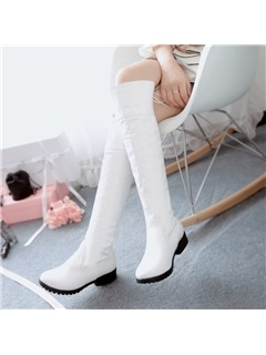 Solid Color Round Toe Womens Knee High Boots