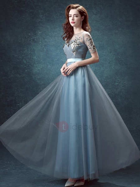 Vintage Bateau Neck Sequined Appiques A-Line Short Sleeves Long Prom Dress