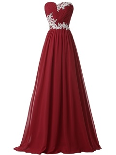 Hot Sale Sweetheart Pleats Appliques Lace Up Long Evening Dress