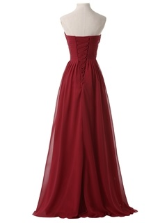 Hot Sale Sweetheart Pleats Appliques Lace-up Long Evening Dress