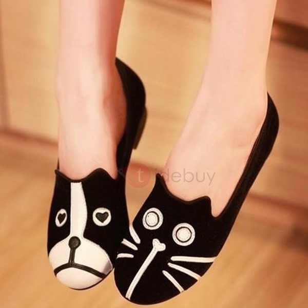 Cartoon Round Toe Slip-On Flats