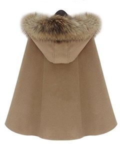 Cape Style Hooded Fur Collar Trench Coat