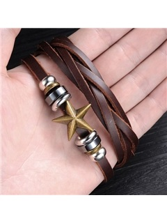 Star Decorated Leather Bracelet