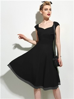 Solid Frill Cap-Sleeve Skater Dress