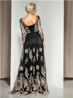 Vintage Sheer Neck Long Sleeves Appliuqes Lace-up Long Evening Dress