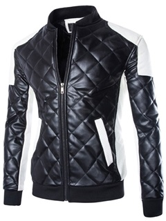 Mens Plus Size Color Block Pu Quilted Motor Jackets