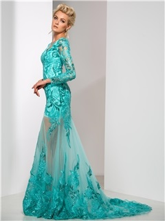 Graceful V-Neck Sequined Appliques Long Sleeve Long Mermaid Evening Dress