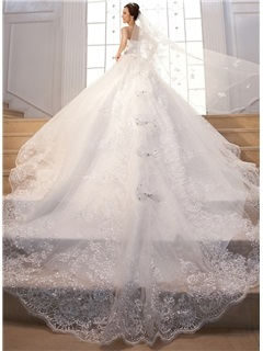 Cathedral Train Beading Sequin Lace Strapless Wedding Dress 2