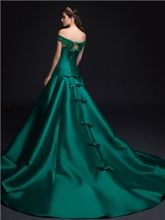 Luxurious Off the Shoulder Pearls Lace Bowknot Lace-up Chapel Train Long Evening Dress