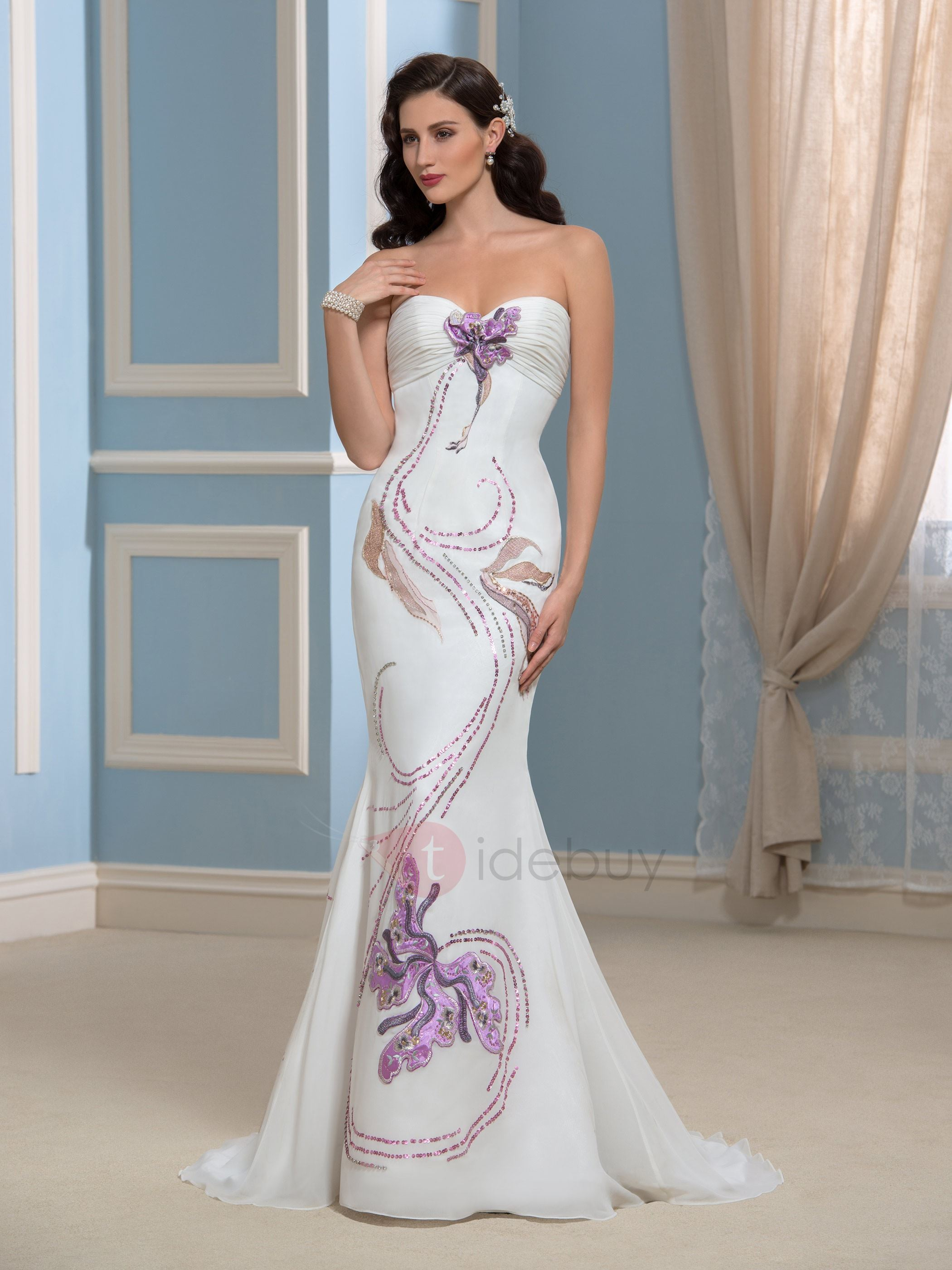 Embroidery Sweep Train Mermaid Wedding Dress