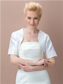 Short Sleeves Satin Lace Wedding Jacket