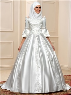 Sequined Lace 3 4 Sleeves Lace Up Satin Arabic Wedding Dress