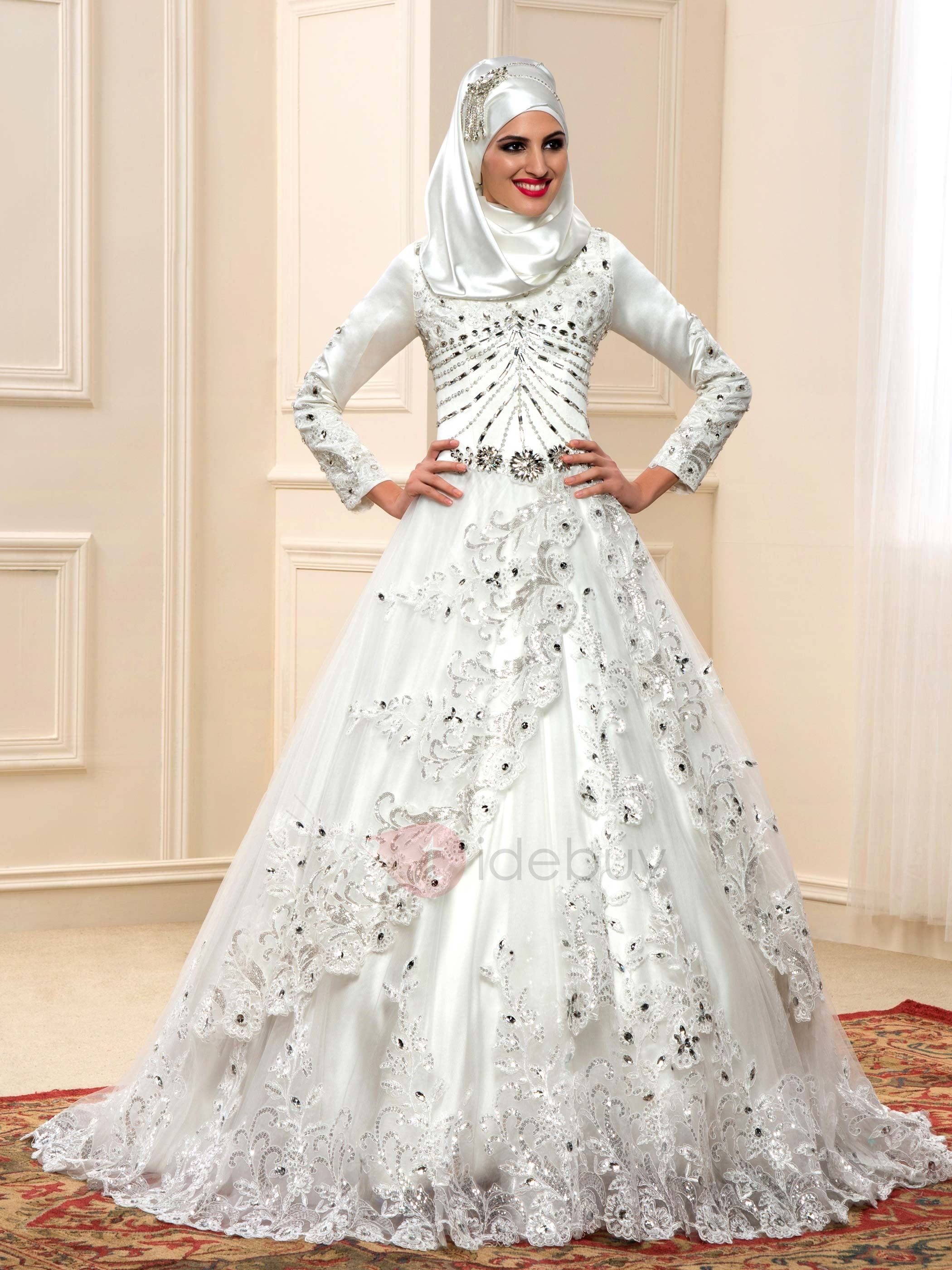 Luxury Beaded Lace Appliques Long Sleeve Muslim Wedding Dress Zipper Back