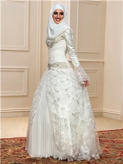 Beaded High Neck Long Sleeve Ruched Ivory Muslim Wedding Dress