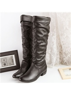 Round Toe Chunky Heel Knee High Boots