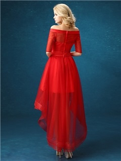 Modern Off-the-Shoulder A-Line Flowers Asymmetrical Red Prom Dress