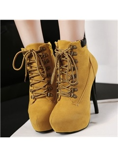 Suede Lace-Up Front Stiletto Heel Ankle Boots