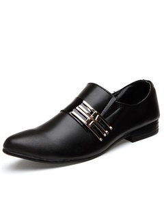 Round Toe Buckle Slip-On Men's Dress Shoes