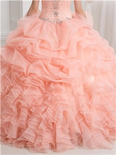 Dramatic Straps Beading Pick-ups Ball Gown Quinceanera Dress